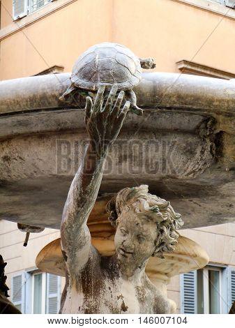 Turtle fountain detail in Rome in Jewish quarter