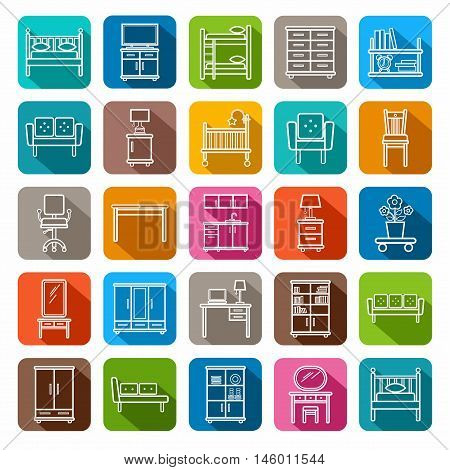 Furniture, colored icons, contour. Vector contour icons for furniture. White image on a colored background with a shadow.