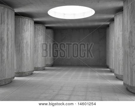 empty concrete hall