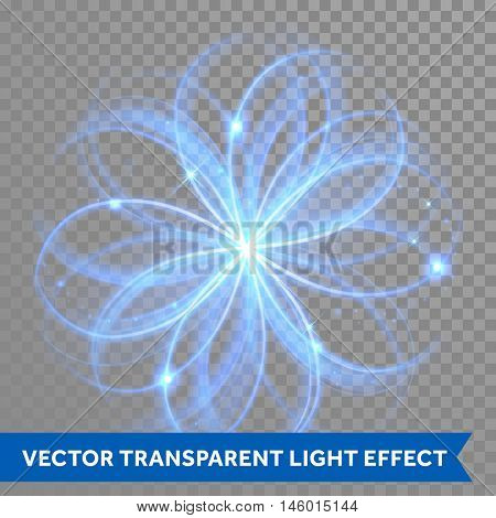 Vector blue magic glowing light flowery swirl with trail trace effect on transparent christmas background. Blue neon glitter fire spark spiral wave line with flying sparkling flash lights