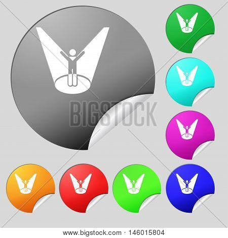 Spotlight Icon Sign. Set Of Eight Multi Colored Round Buttons, Stickers. Vector