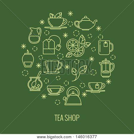 Green tea outline icons in circle design. trendy thin line logo for tea shop. Brew herbal tea, vector illustration