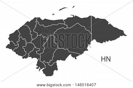 Honduras grey map with regions isolated vector high res