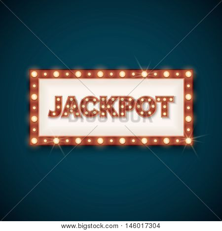 Jackpot banner with retro luminous frame. Prize in gambling game. Vector illustration