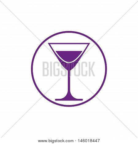 Alcohol beverage theme icon classic martini glass placed in circle.