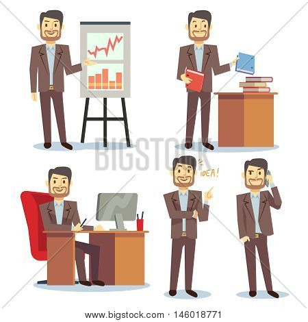 Businessman in various situations in office vector business peoples cartoon flat set. Consultant showing and pointing to report illustration