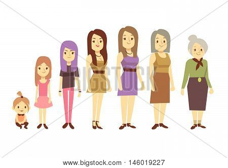 Women generation at different ages from infant baby to senior old woman. Daughter granddaughter and grandmother. Vector illustration