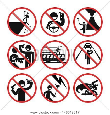 Death by selfie vector infographic. Ban selfie in dangerous places illustration