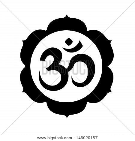 Om, or Aum sign in mandala round shape isolated on white background. Symbol of Hinduism. Art vector illustration.