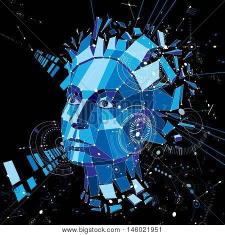 Artificial intelligence head low poly style 3d vector wireframe object broken into different particles. Modernistic background can be used in projects on subject of human mind and consciousness.