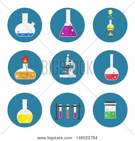 set of laboratory equipment. Chemists scientists equipment. flat design workspace concept. Chemistry and physics biology infographic icons. Laboratory lab with alembic vial hourglass dropper vector illustration
