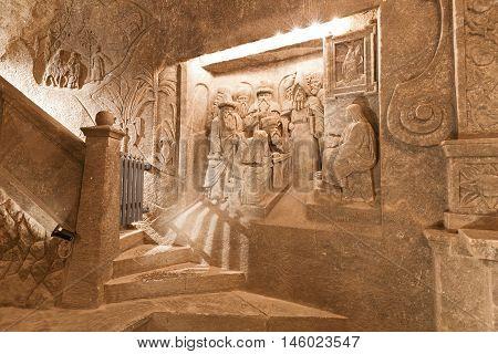 KRAKOW, POLAND - APRIL 04, 2015: Carvings in Wieliczka salt mine near Krakow in Poland on April 04, 2015.