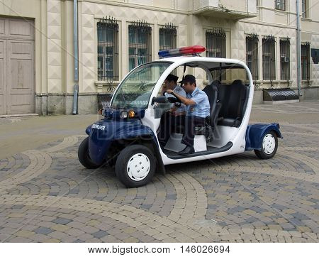 Krasnodar, Russia - July 06, 2014: Police patrol the streets of the city of Krasnodar on the electric vehicle
