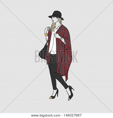 Beautiful Young Women In A Fashion Poncho And Hat With Bag. Vector Illustration