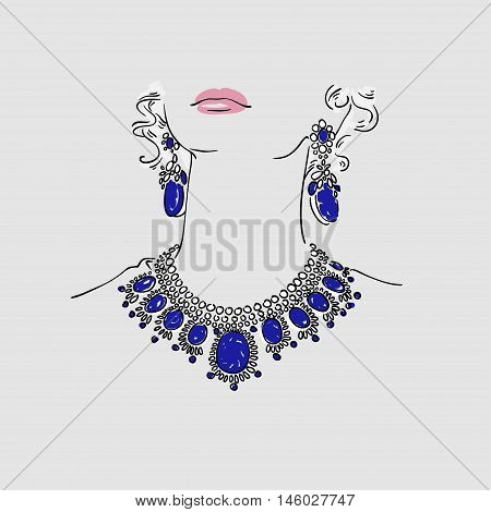 Beautiful Young Women With Big Silver Earrings And Massive Necklace With Blue Gems. Vector Hand Draw