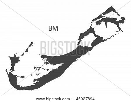 Bermuda grey map isolated vector high res