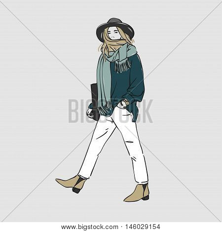 Beautiful Young Women Walking In A Fashion Clothes And Hat With Bag. Vector Hand Drawn Illustration.
