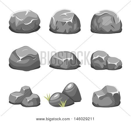 Stones and rocks cartoon vector. Cartoon stone, rock nature, boulder natural illustration