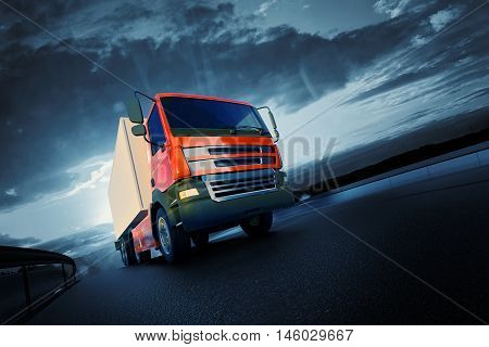 3d rendered illustration of orange semi truck on asphalt road highway at sunset - transportation background