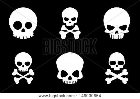 Skull and crossbones icons in cartoon style. Bone and skull, skeleton death, crossbone human, halloween or pirate, vector illustration