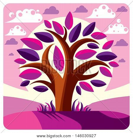 Art vector graphic illustration of stylized branchy tree and peaceful fantastic landscape with clouds and setting sun fairy countryside view.