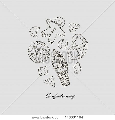 Vector Hand Drawn Illustration Of Confectionary Icons Set.