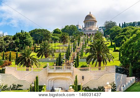 Shrine of the Bab and lower terraces at the Bahai World Center in Haifa, Israel