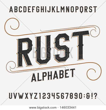 Vintage rust alphabet font. Distressed effect letters and numbers on a bright background. Retro vector typeface for labels, flyers, headlines, posters etc.