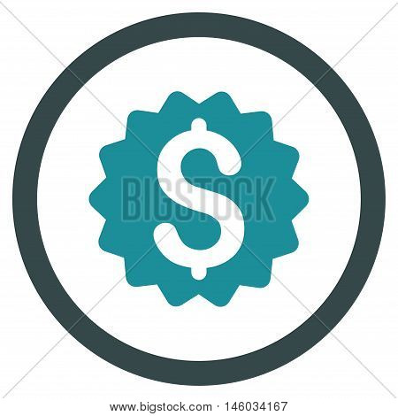 Financial Reward Seal vector bicolor rounded icon. Image style is a flat icon symbol inside a circle, soft blue colors, white background.