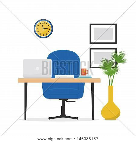 Workplace. Office with a desk, laptop and armchair. Business concept objects, elements and equipment. Interior office room. Cartoon vector illustration on the white background in flat style.
