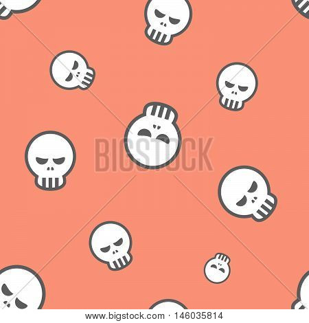 Seamless Angry Skull Pattern Background