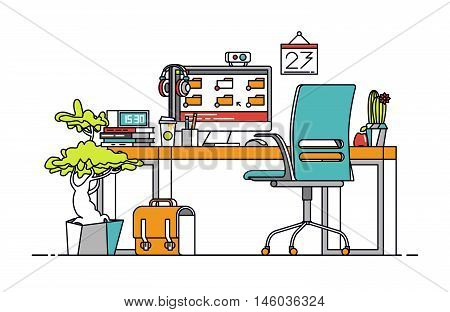 Thin line flat design of modern designer workplace with desktop computer developer and artist equipment in office interior. Modern business vector illustration concept isolated on white background