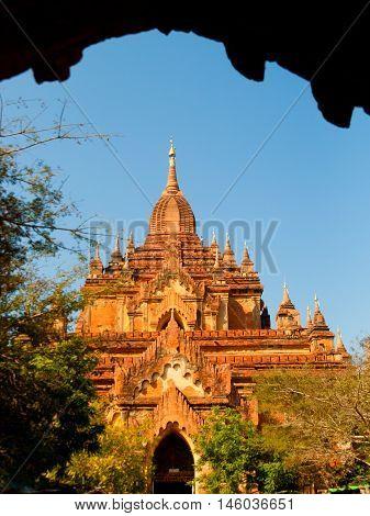 Front view of Htilominlo Temple in Bagan Myanmar