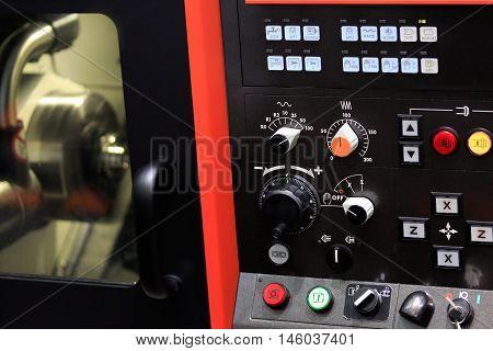 Close up view of cnc lathe machine.