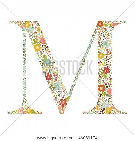 M letter with decorative floral ornament