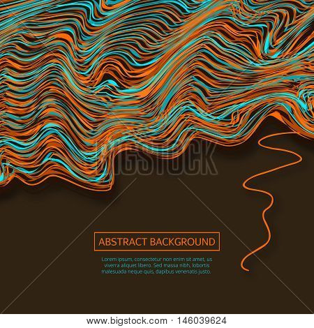 Vector warped lines background.Colorful abstract stripes vector illustration. Glitch color waves background with frame.