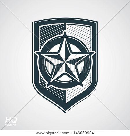 Vector shield with pentagonal Soviet star protection heraldic blazon.