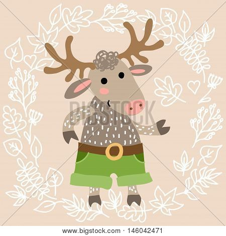 Cute deer on leaves background vector illustration