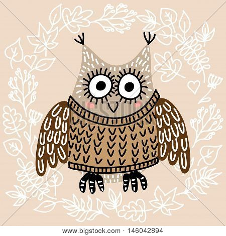 Cute owl on leaves background vector illustration