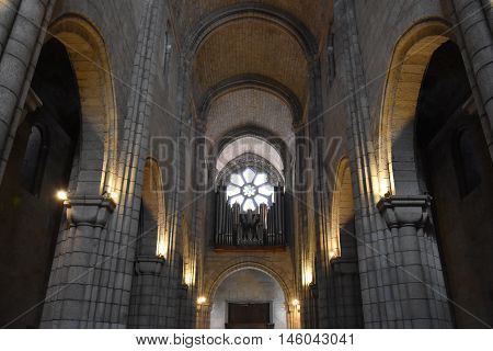 PORTO, PORTUGAL - AUG 22: Porto Cathedral in Portugal, as seen on Aug 22, 2016. It is one of the citys oldest monuments and one of the most important Romanesque monuments in Portugal.