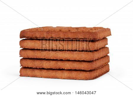 Upright cookie against stack of double chocolate chip cookies on white isolated background.