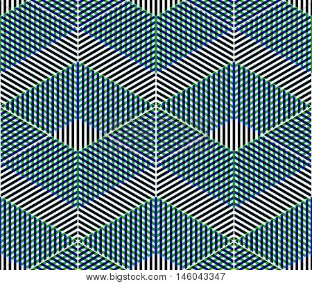 Abstract vector geometric seamless 3d pattern with transparency effects.