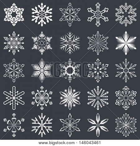 Set of vector snowflakes shapes isolated on black background. Snowflake symbols for Christmas and winter designs.