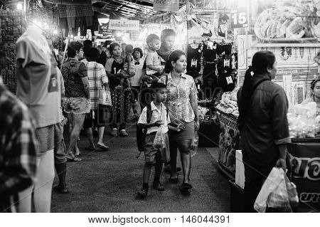 PrachuapkhirikhanThailand -July 27 2016: Unidentified people at thai traditional market walking street at Prachuapkhirikhan Province Thailand black and white color picture style