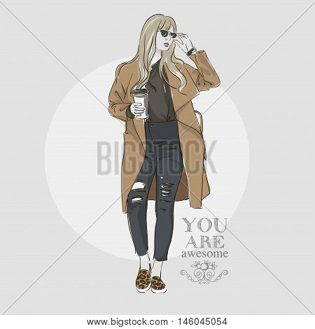 Beautiful  Hipster Young Blonde Women In A Fashion Jacket In Glasses With Coffee. Vector Illustratio