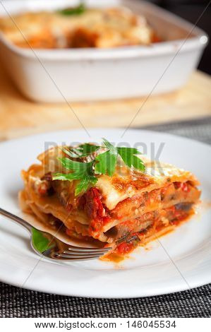 Typical italian lasagne served in a plate one portion in front baking dish blurred in the background