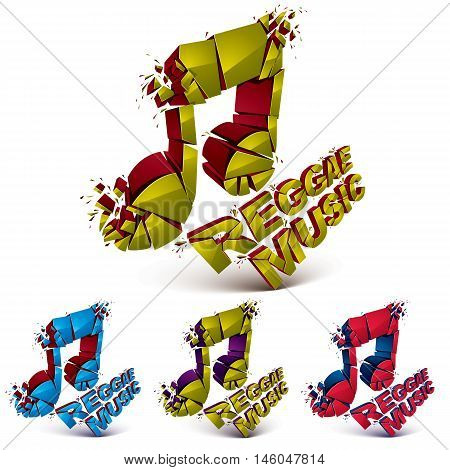 Collection of 3d vector musical notes created from refractions isolated on white. Set of colorful three-dimensional transform music theme design elements. Reggae music theme