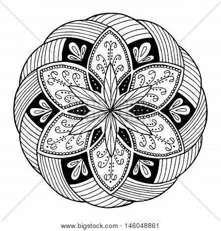 Hand-drawing mandala round floral ornament. Pattern for coloring book or print for cloth. Vector stock illustration.
