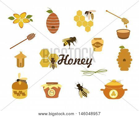Honey  icons vector. Set of bee, honey, beehive, wax cell, jars honey, honeycomb  vector illustration isolated on white background.
