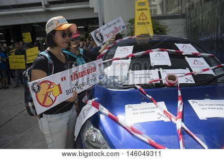 Bangkok Thailand : August 31 2016 - ford's car user in thailand get a flash mob at prime minister's office to call for justice about gear problem in ford car Bangkok Thailand